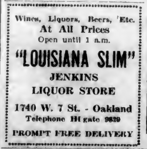 Slim Jenkins Liqour Store Ad-1-18-1934-ii